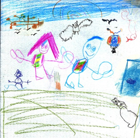 a child's scribble. birds sheep people fields rainbows. fear.