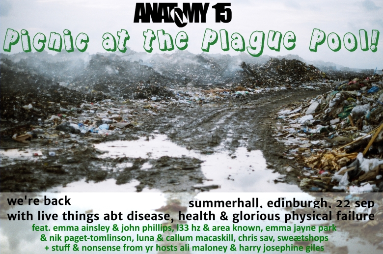 A muddy picture of a slimey waste site. Text is superimposed in black and green: full text below.