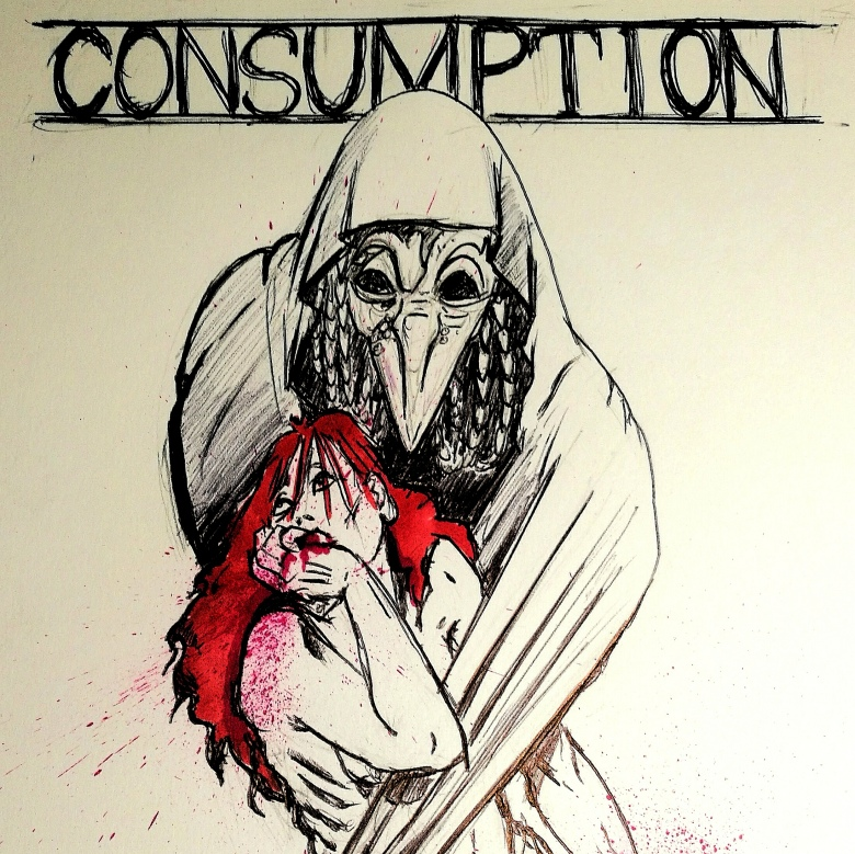 An ink illustration: a cloaked figure in a  deathbird mask grasps a waif-like woman with red hair, coughing blood.